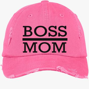 063368e9f8945 boss mom Distressed Cotton Twill Cap (Embroidered)
