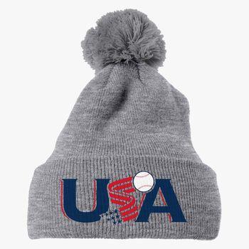 f925e55ab4c Usa Baseball Logo Knit Pom Cap