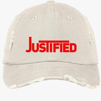 4c5b12b1 justified logo Distressed Cotton Twill Cap (Embroidered) | Hatsline.com