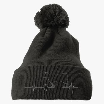 542d0c59528 Cow Heartbeat Knit Pom Cap (Embroidered)