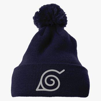 Naruto Konoha Leaf Village Soft Knit Cable Ponytail Messy Bun Beanie Tail Hat Women Men
