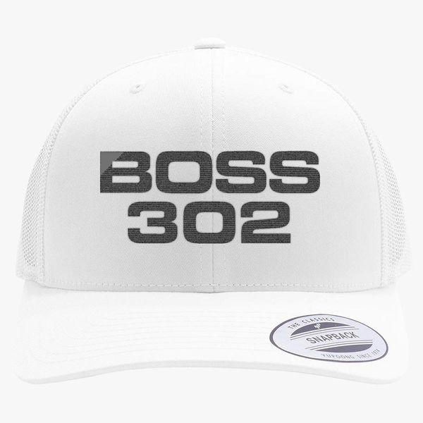 483c9b6aa1b79 Mustang Boss 302 Retro Trucker Hat - Embroidery +more
