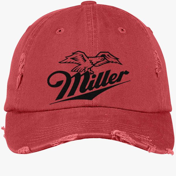 Miller Beer Logo Distressed Cotton Twill Cap - Embroidery +more b2f7711225dc