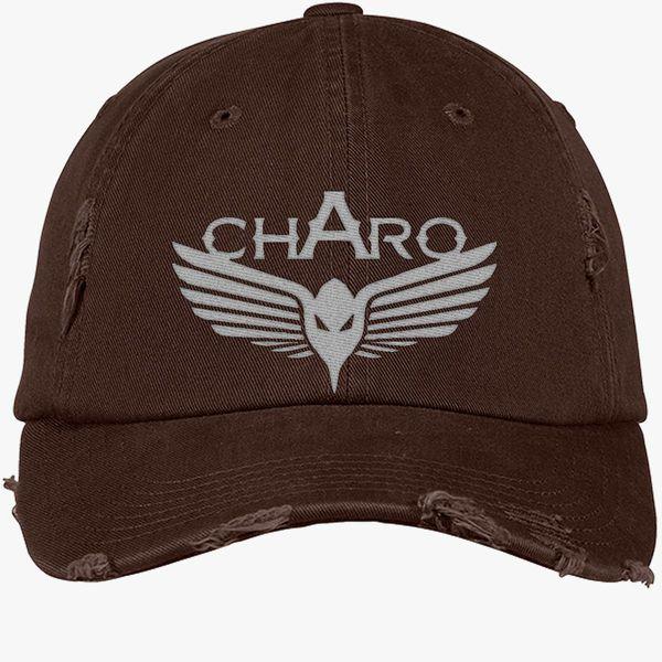 Charo Niska Logo Distressed Cotton Twill Cap Embroidered