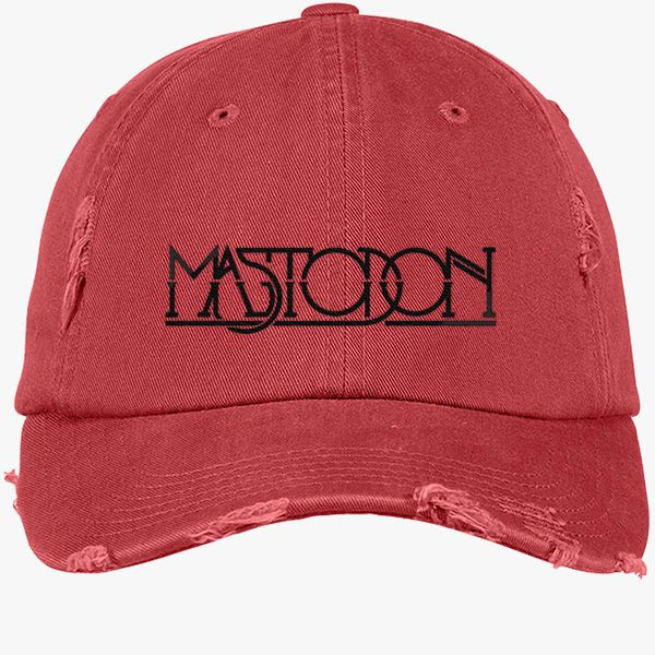 44748ae0 Mastodon Logo Distressed Cotton Twill Cap (Embroidered) | Hatsline.com