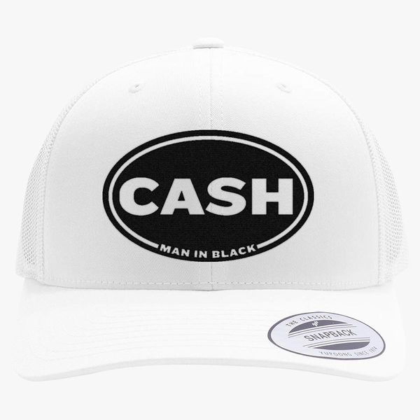 Johnny Cash Man in Black Retro Trucker Hat - Embroidery +more a54c7425f98