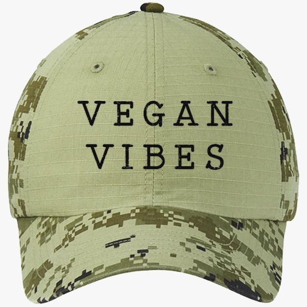 c8c0b327 Vegan Vibes funny cute tee quote tee hipster tee funny Colorblock Camouflage  Cotton Twill Cap (Embroidered) | Hatsline.com