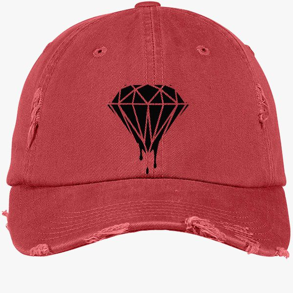 dd1a396af62 Leaking Diamond Distressed Cotton Twill Cap - Embroidery +more