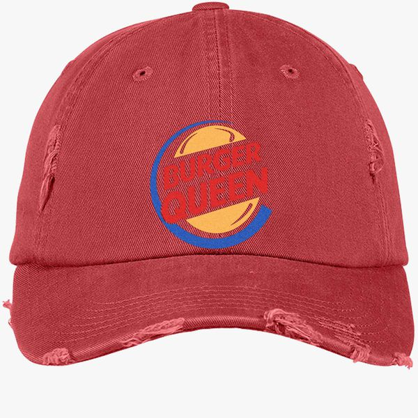 b3861d402eba5 Burger Queen Distressed Cotton Twill Cap - Embroidery +more
