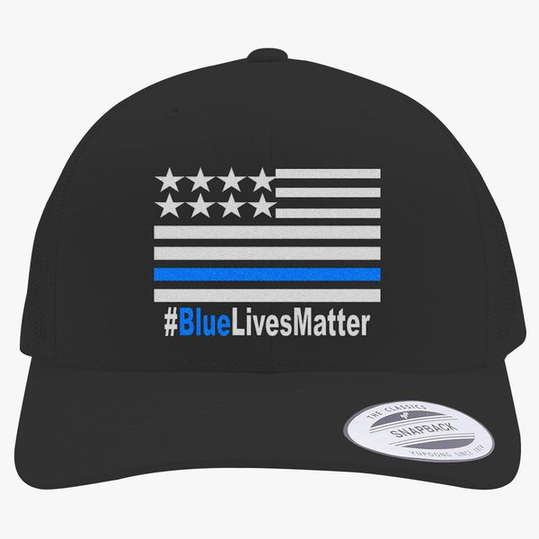 Blue Lives Matter Retro Trucker Hat - Embroidery +more 8f7a3a5a6c51