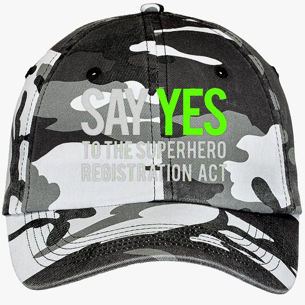 37b8f747c Say yes to the superhero registration act Camouflage Cotton Twill Cap  (Embroidered) | Hatsline.com