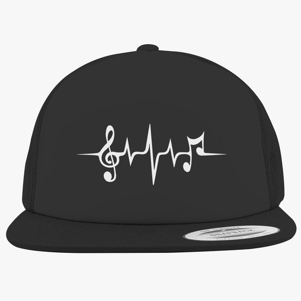d377c77d Music Pulse, Notes, Clef, Frequency, Wave, Sound, Dance Foam Trucker Hat  +more