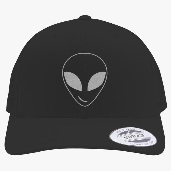 0208cd0f7 Alien Smiling Retro Trucker Hat (Embroidered)   Hatsline.com