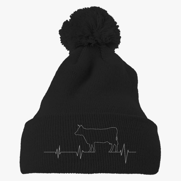 b0a68845303 Cow Heartbeat Knit Pom Cap - Embroidery +more