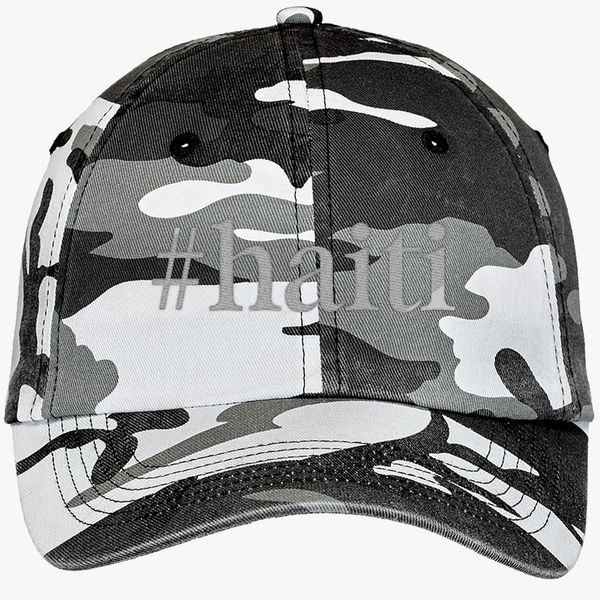 a6bf65e5add Haiti Hashtag Camouflage Cotton Twill Cap - Embroidery +more