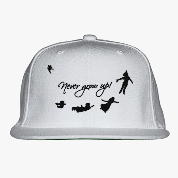 02cb119b4db Never Grow Up Peter Pan Snapback Hat - Embroidery +more