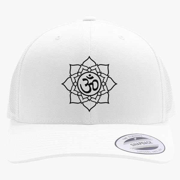 Om Lotus Flower Retro Trucker Hat (Embroidered) | Hatsline com