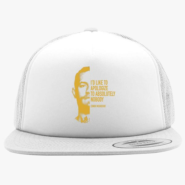 0e536c2afb2 Conor McGregor - Apologize to Nobody gold Foam Trucker Hat ...