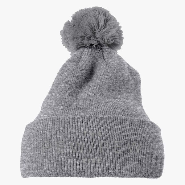 6f86dafca2255 The pew pew Life - Silver Knit Pom Cap - Embroidery +more