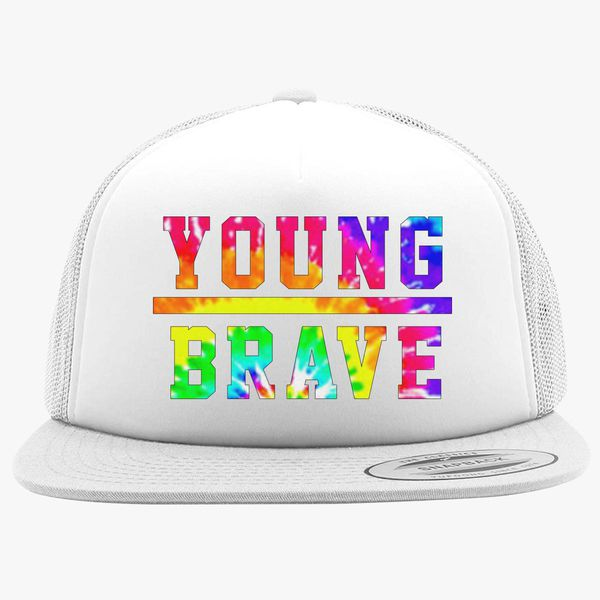 c06b518afd3 YOUNG BRAVE - TIE DYE Foam Trucker Hat +more