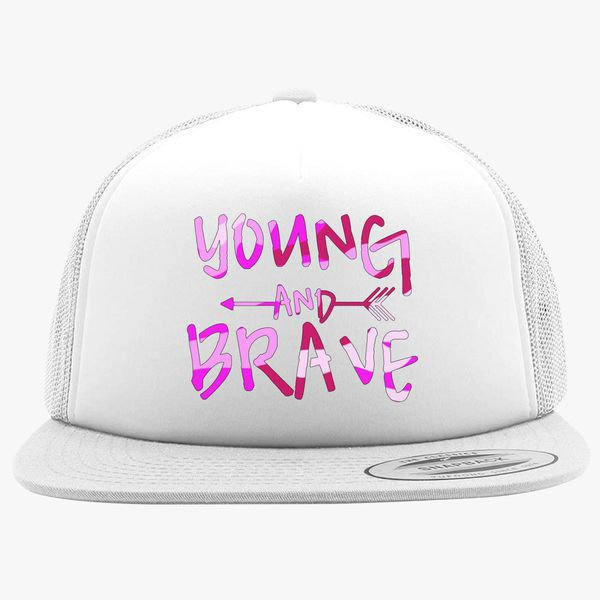 d422f8896f3 YOUNG AND BRAVE - CAMO PINK Foam Trucker Hat +more