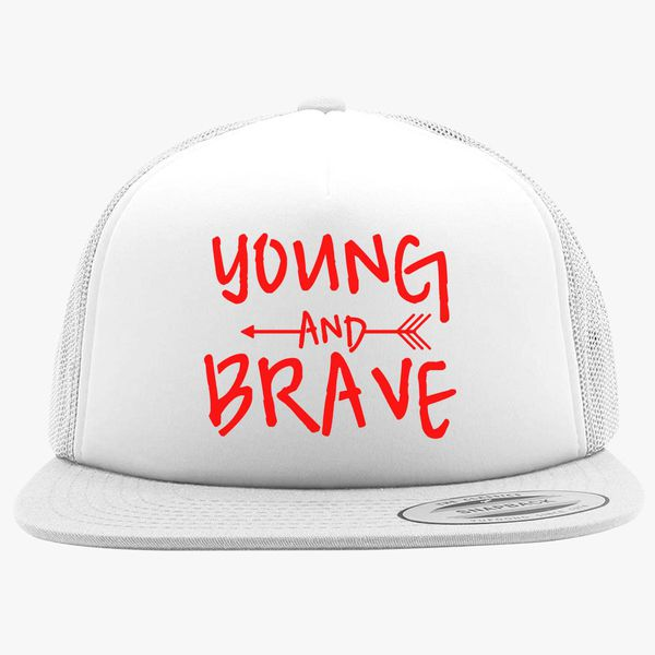 a50aee5a136 YOUNG AND BRAVE - RED Foam Trucker Hat +more