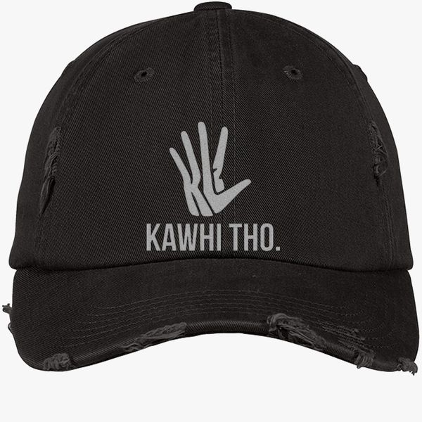 45f56dfd401380 KAWHI THO Distressed Cotton Twill Cap - Embroidery +more