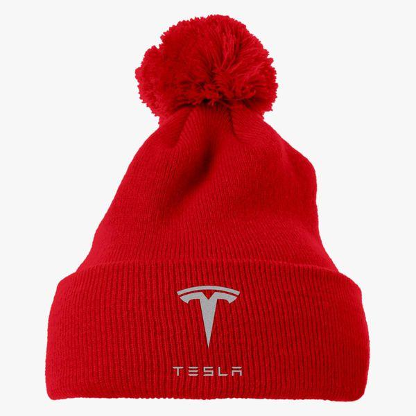 88867745 Tesla Knit Pom Cap (Embroidered) | Hatsline.com