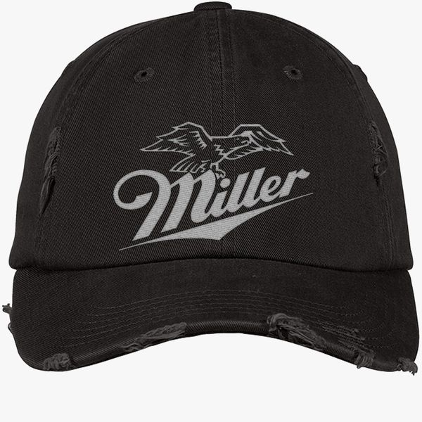 Miller Beer Logo Distressed Cotton Twill Cap - Embroidery +more f96bfdc7e532