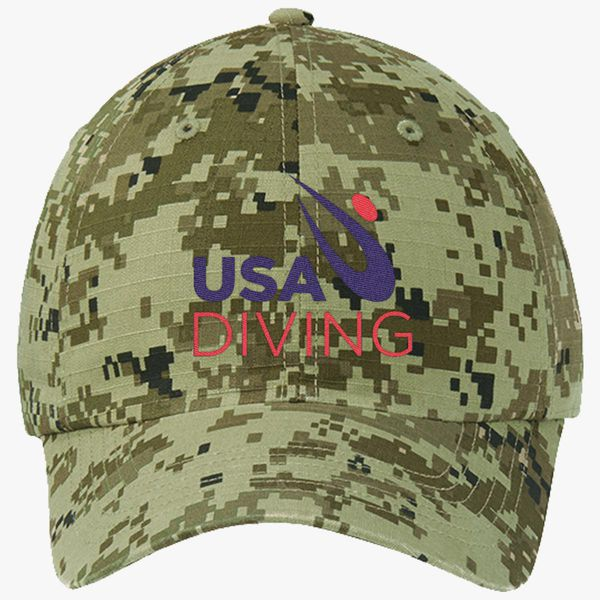 00faa0c8379 USA Diving Logo Ripstop Camouflage Cotton Twill Cap - Embroidery +more
