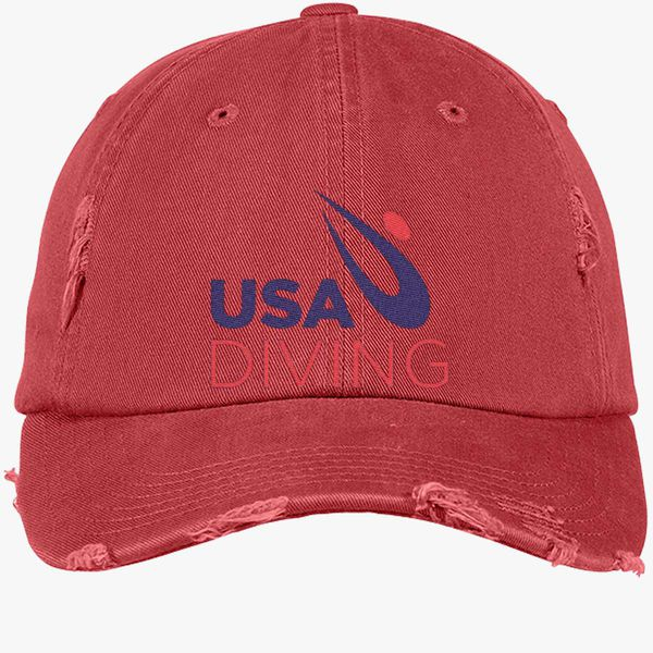 dcec0b61ed1 USA Diving Logo Distressed Cotton Twill Cap - Embroidery +more