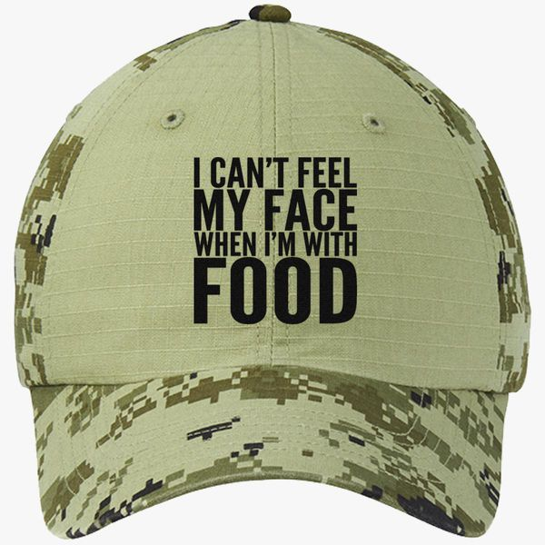 30874fe0007 I can t feel my face when I m with FOOD Colorblock Camouflage Cotton Twill  Cap - Embroidery +more