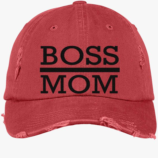 2b5be87b120f8 boss mom Distressed Cotton Twill Cap - Embroidery +more