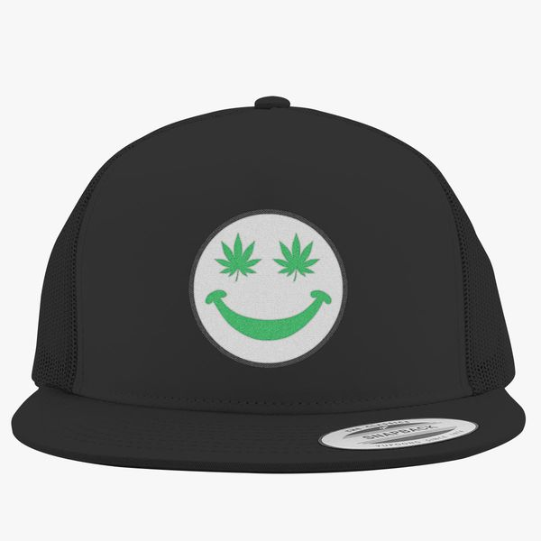 2a7607f3c62 Weed Smiley Trucker Hat - Embroidery +more