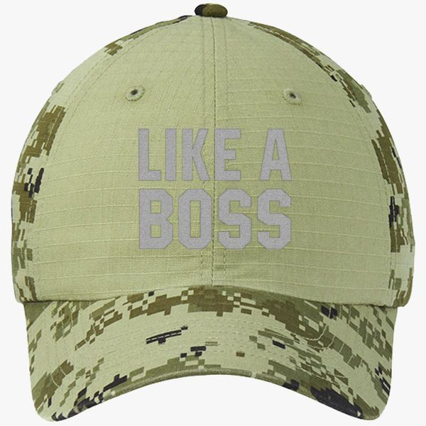 5f5be09b102bdd Like A Boss Gangster Attitude Funny Hipster Colorblock Camouflage Cotton  Twill Cap - Embroidery +more