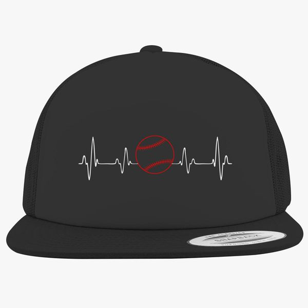 1907445bc99 Baseball Heartbeat, Cute Love Baseball Mom Fan Gift Foam Trucker Hat +more