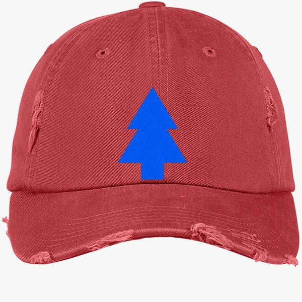bb032982c9c Dipper Pines Tree Gravity Falls Distressed Cotton Twill Cap - Embroidery + more